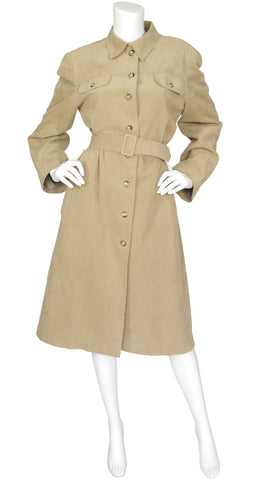 1970s Beige Ultra Suede Trench Coat