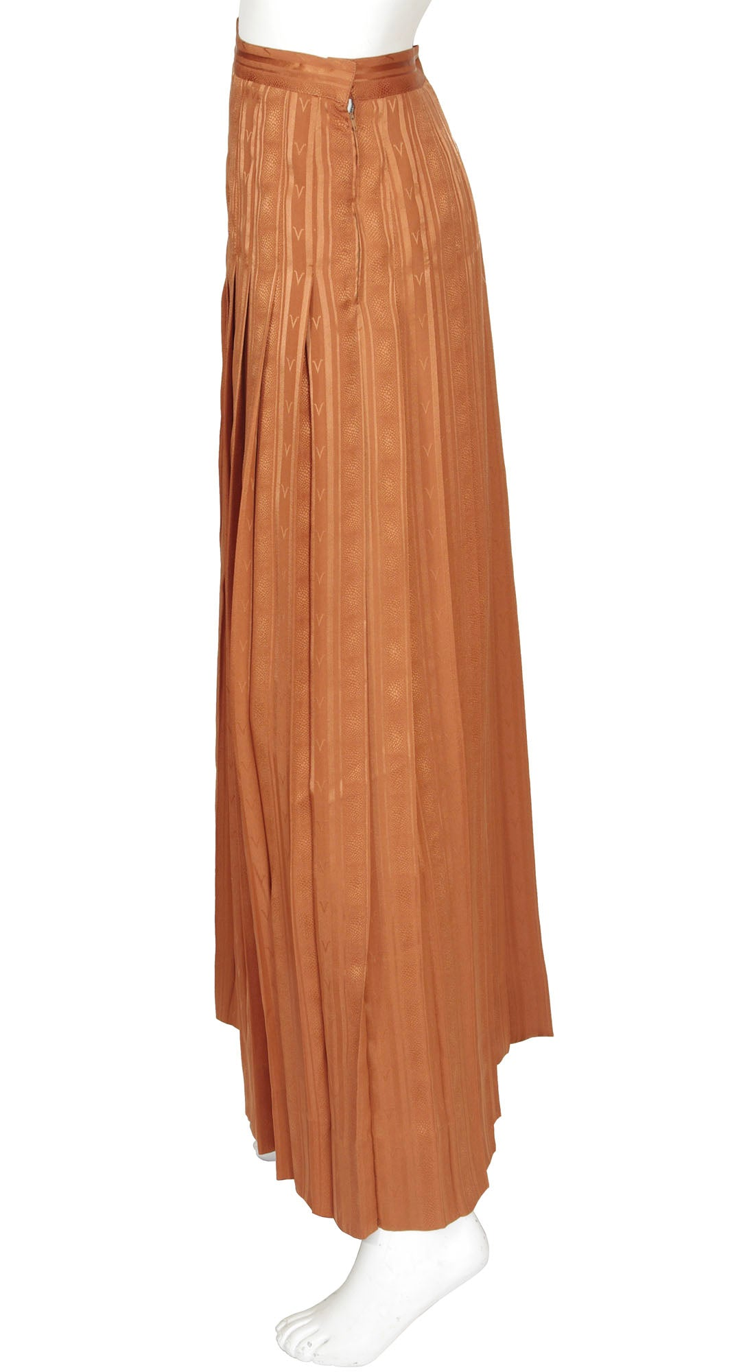 "1970s ""V"" Pleated Rust Jacquard Silk Maxi Skirt"