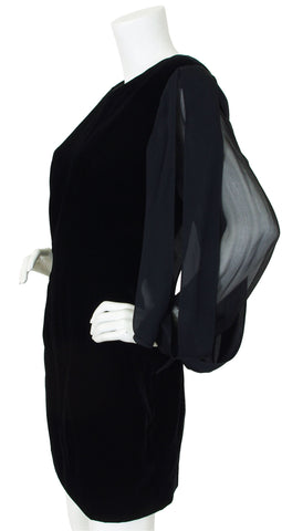1980's Car Wash Sleeves Black Velvet Cocktail Dress