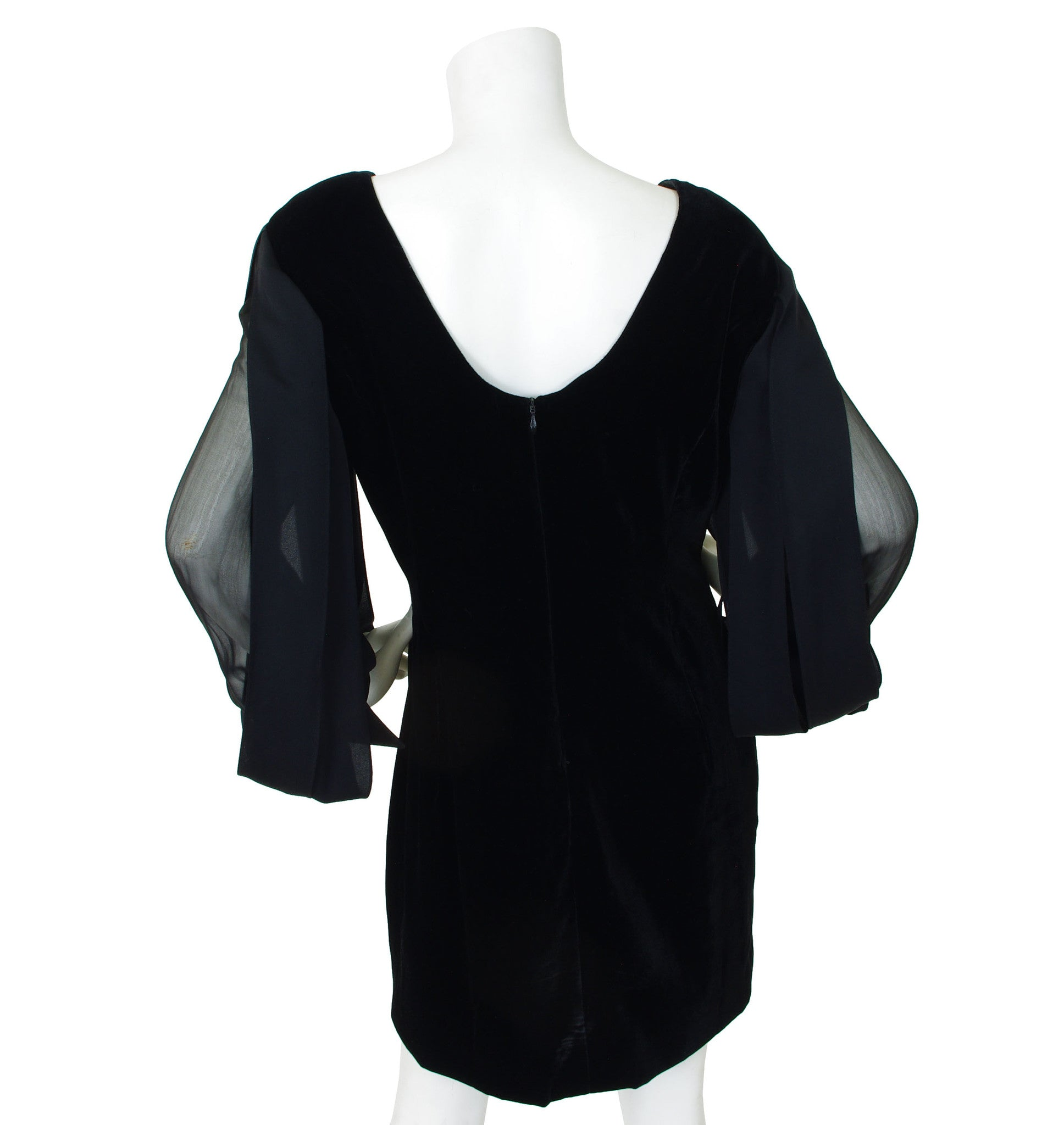 1980s Car Wash Sleeves Black Velvet Cocktail Dress