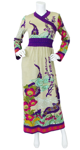 1970's Asian Influenced Wool Maxi Dress