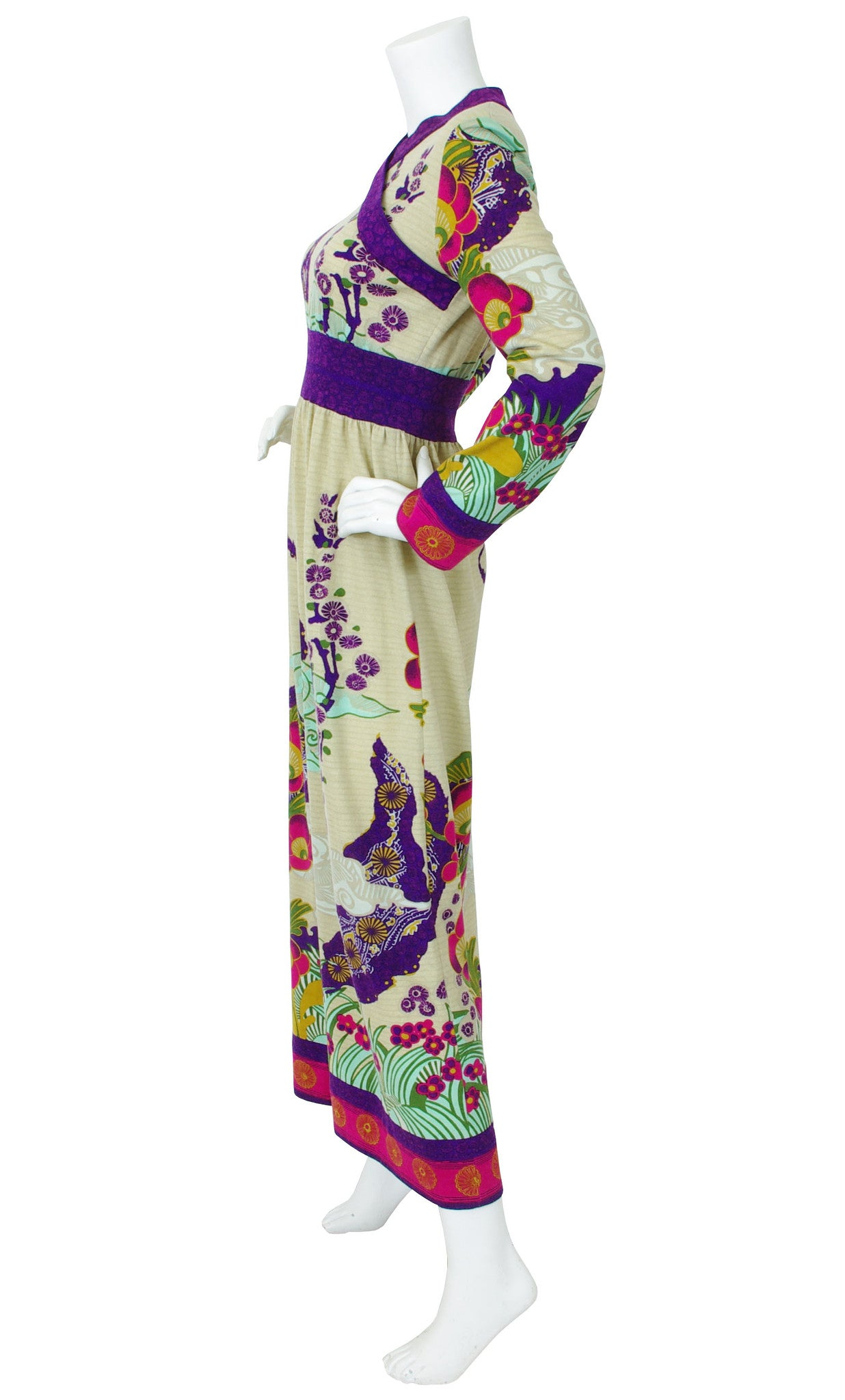 1970s Asian Influenced Wool Maxi Dress
