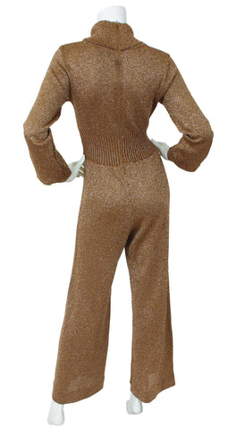 1970's Copper Metallic Knit Jumpsuit