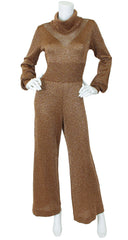 1970s Copper Metallic Knit Jumpsuit
