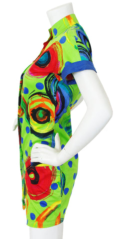 1990s Lime Green Swirl Cotton Tunic Mini Dress