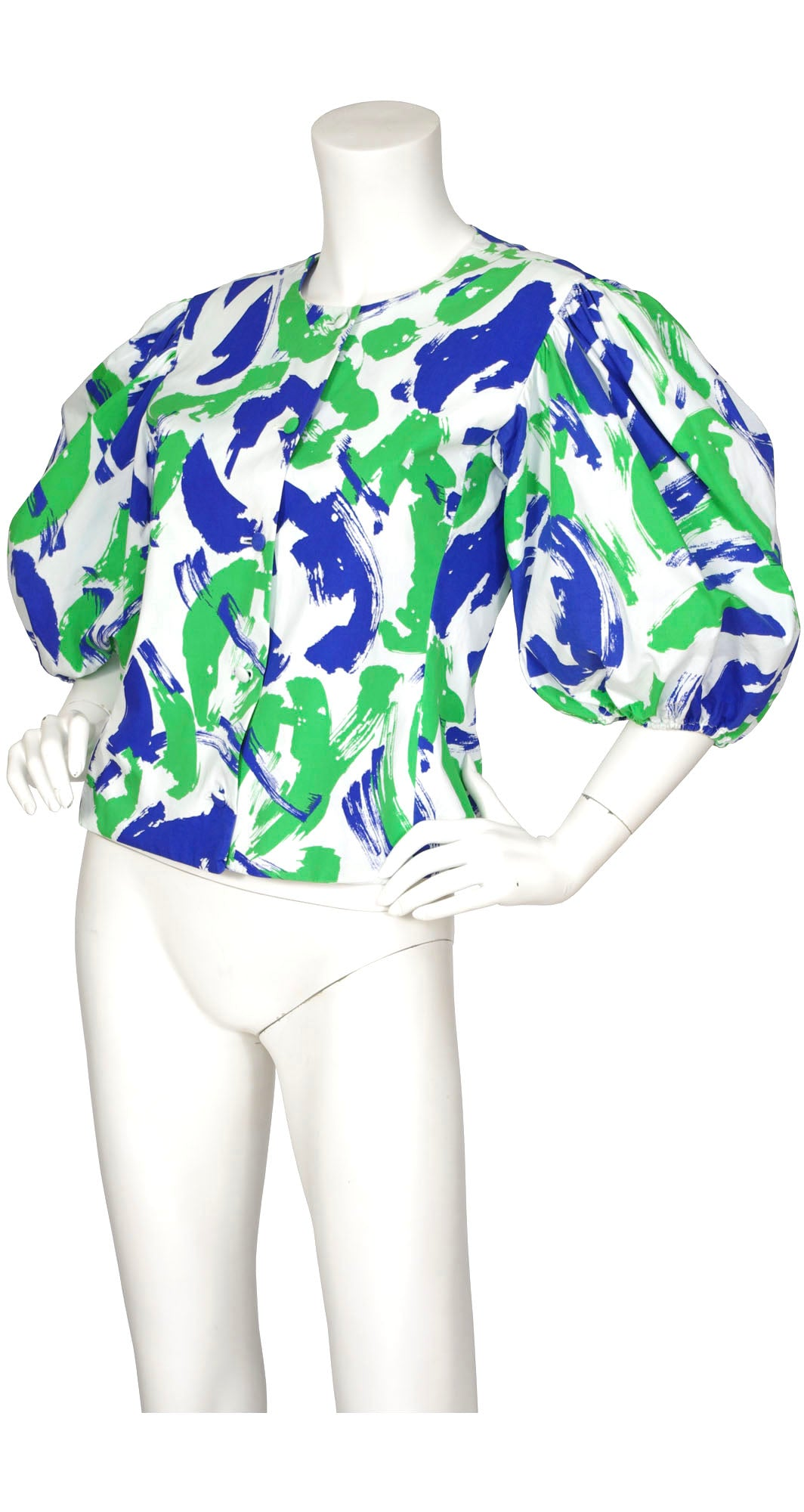 1980s Dramatic Puff Sleeved Abstract Cotton Blouse