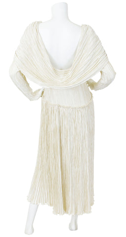 1985 Couture Cream Fortuny Pleat Cape Back Dress