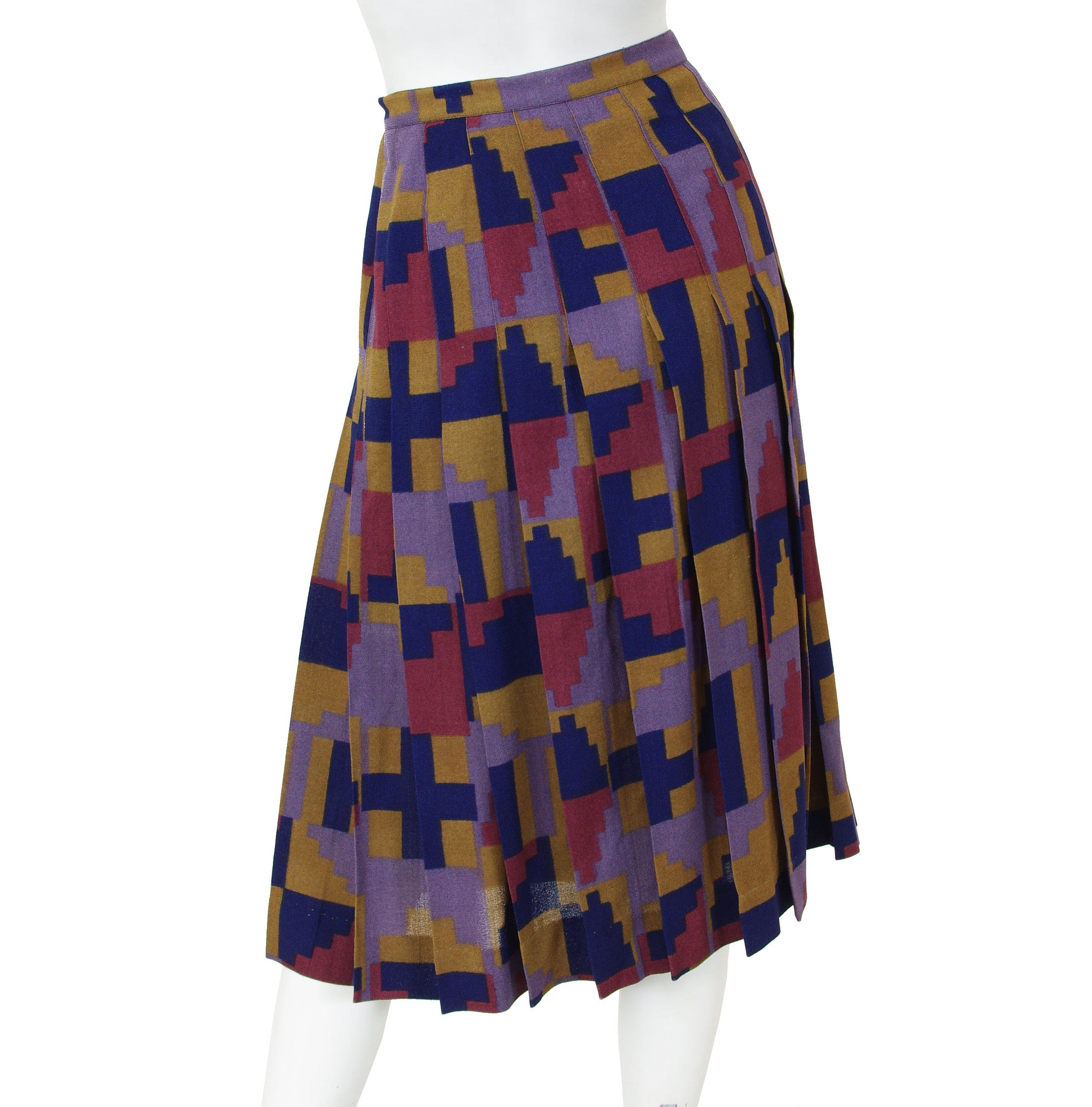 1970's Aztec Inspired Wool Crepe Pleated Skirt