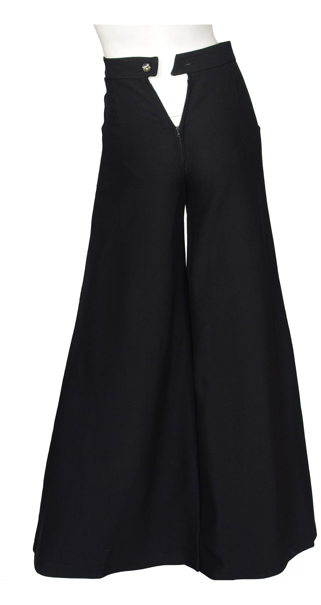 1970s Rare French Black Crepe Palazzo Pants