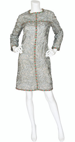 1960s Mod Jeweled Silver Tinsel Cocktail Dress