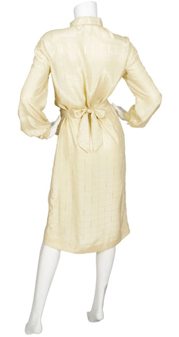 1970s Cream Monogram Print Ascot Shirt Dress