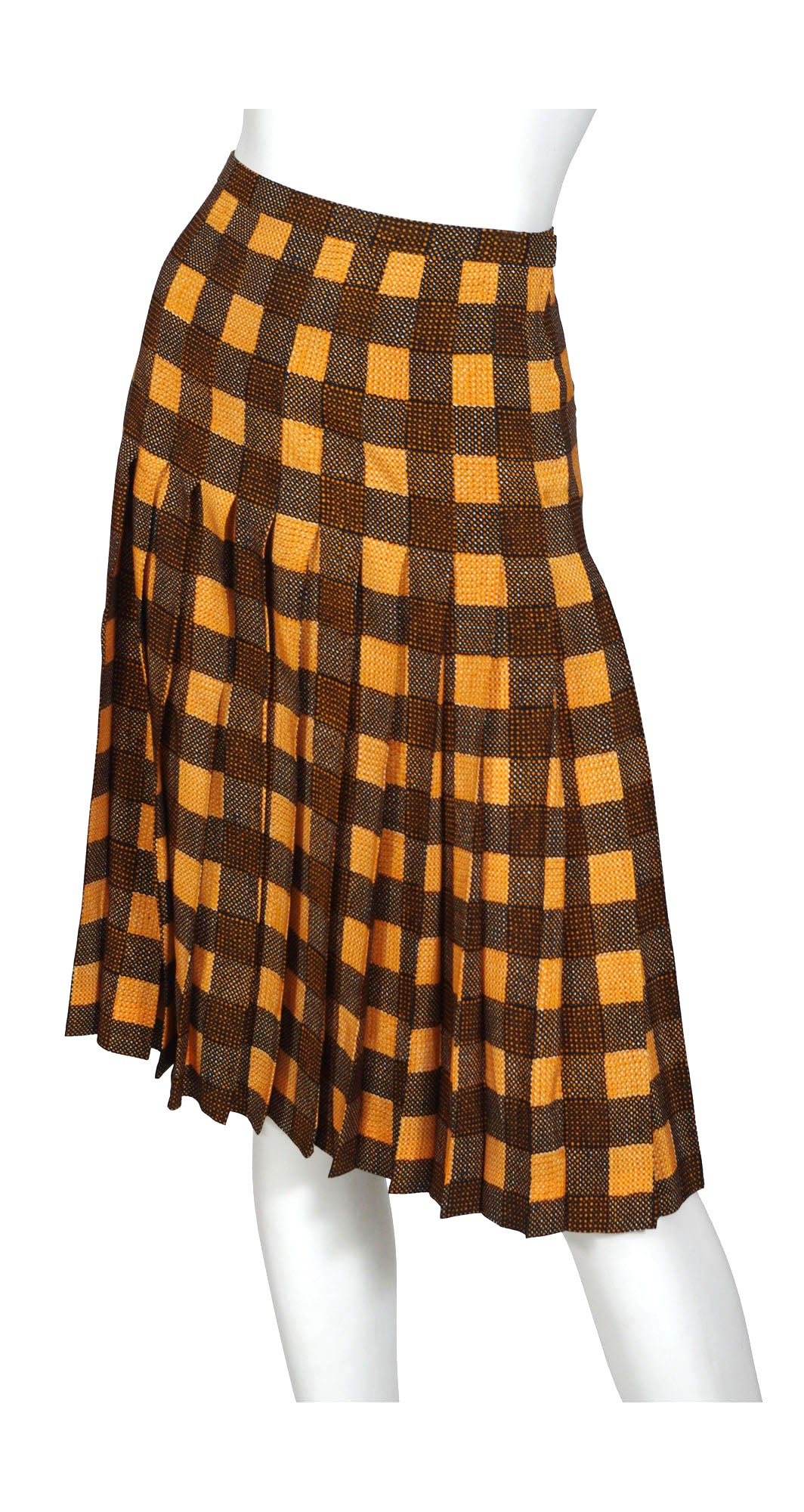 1970s Plaid Silk & Wool Pleated Skirt
