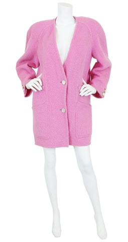 1980's Pink Wool Abalone Button Oversized Coat