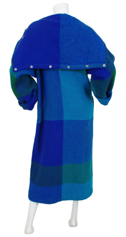 1980's Hooded Blue Plaid Wool Fringe Blanket Coat