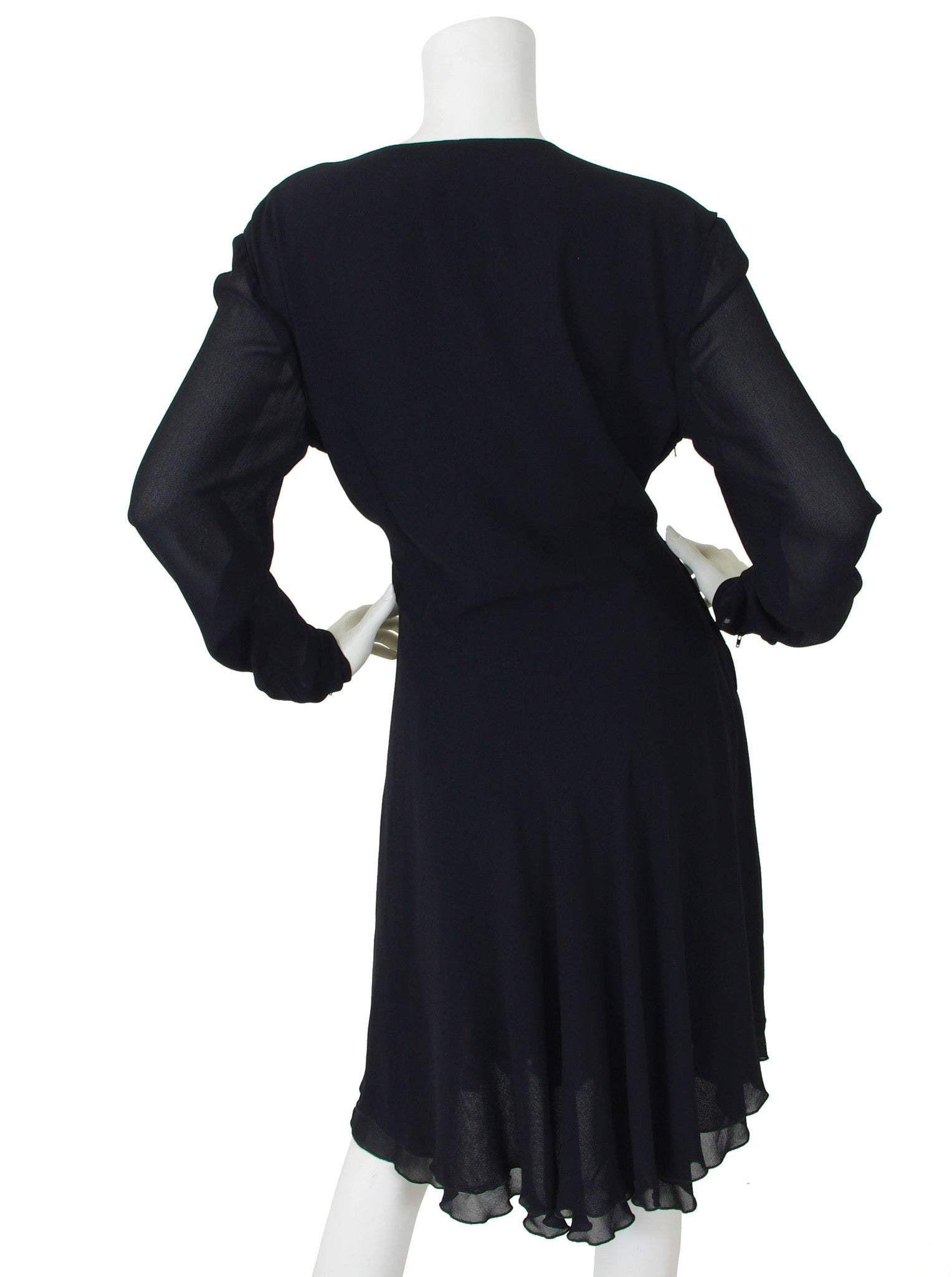 1990s Black Silk Chiffon Faux Wrap Dress
