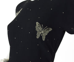 1940s Rhinestone Beaded Butterfly Black Rayon Crepe Dress