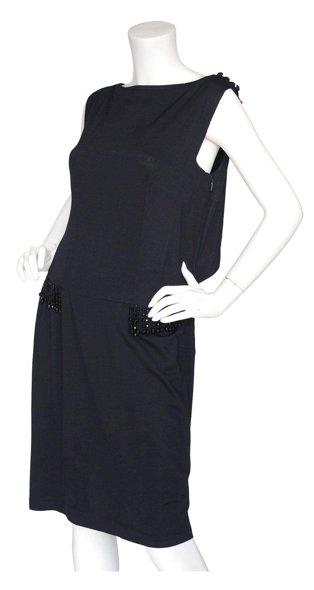 1960s Black Wool Jersey Beaded Cocktail Dress