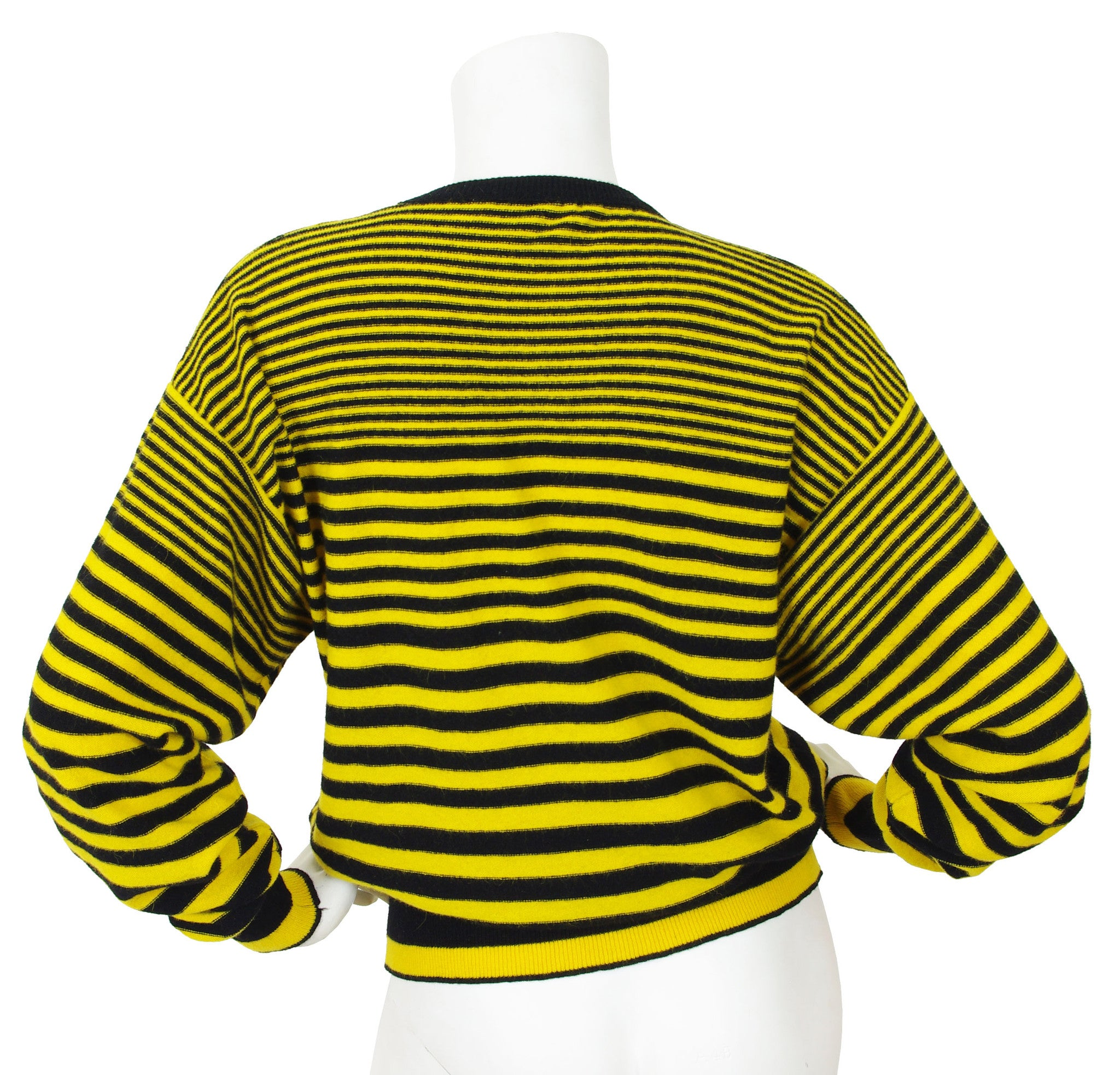 1980's Yellow and Black Striped Wool Dolman Sleeve Sweater