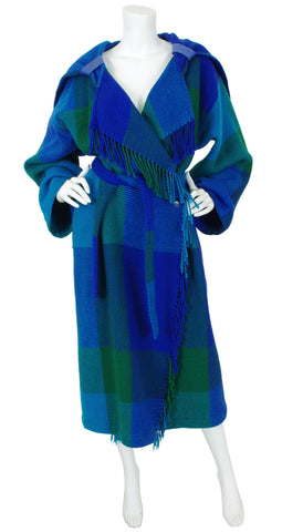 1980s Hooded Blue Plaid Wool Fringe Blanket Coat