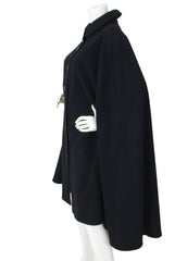1970's Deadstock Black Wool Cape