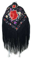 Large Floral Embroidered Black Fringe Piano Shawl