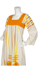 1970s Mexican Art-to-Wear Orange and Cotton Ribbon Caftan