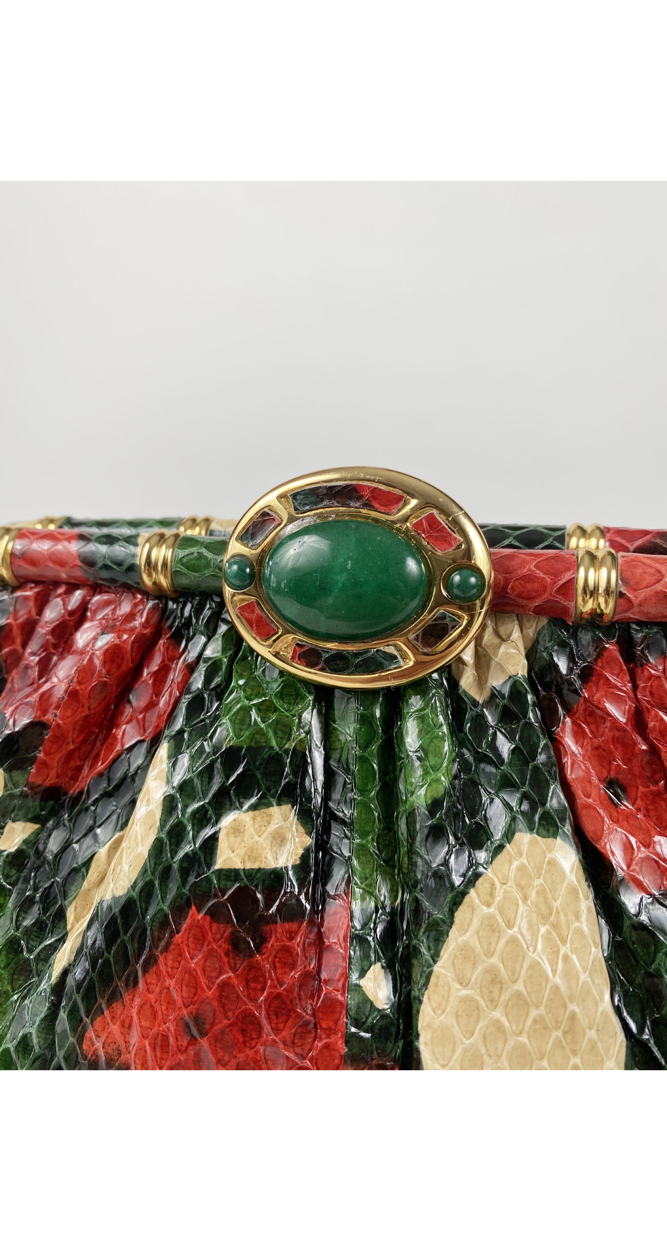 1980s Green & Red Snakeskin Convertible Clutch