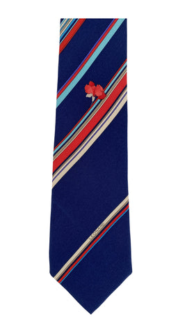1970s Flower Striped Navy Silk Men's Tie