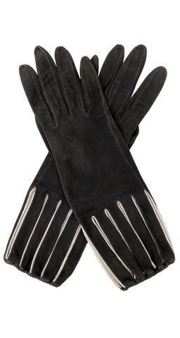 1950s Cut-Out Brown Suede Gloves