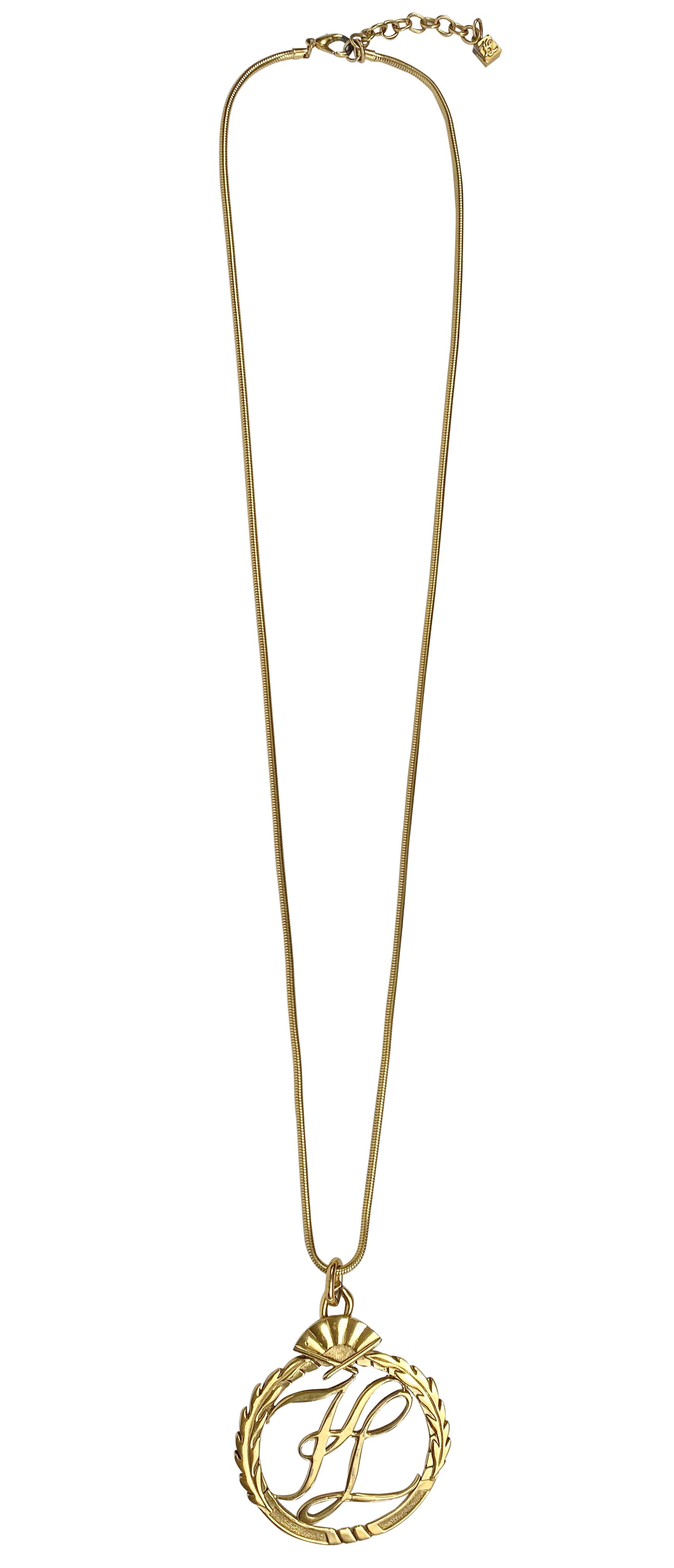 1980s Large Gold-Tone Logo Pendant Necklace