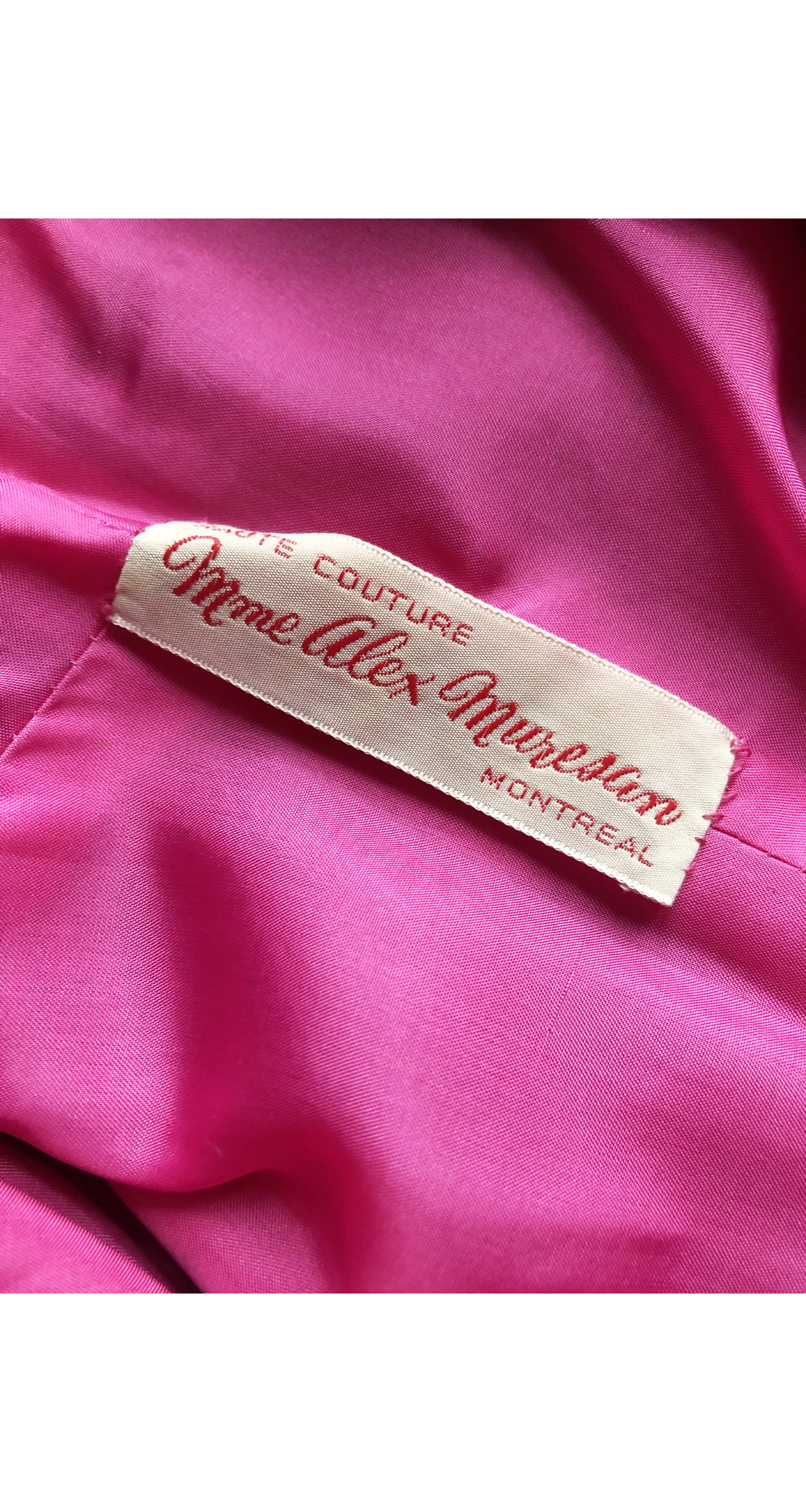1980s Couture Fuchsia Silk Cocktail Dress