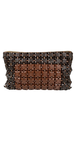 1940s Brown Plastic Tile Clutch