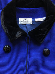 1980s Indigo Ribbed Cotton and Velvet Jacket
