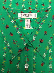 1970s Deadstock Ladybug Print Green Cotton Blouse