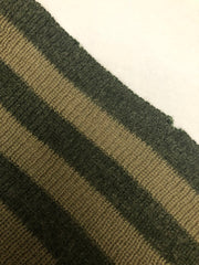 1970s Olive Green Striped Wool Knit Sweater