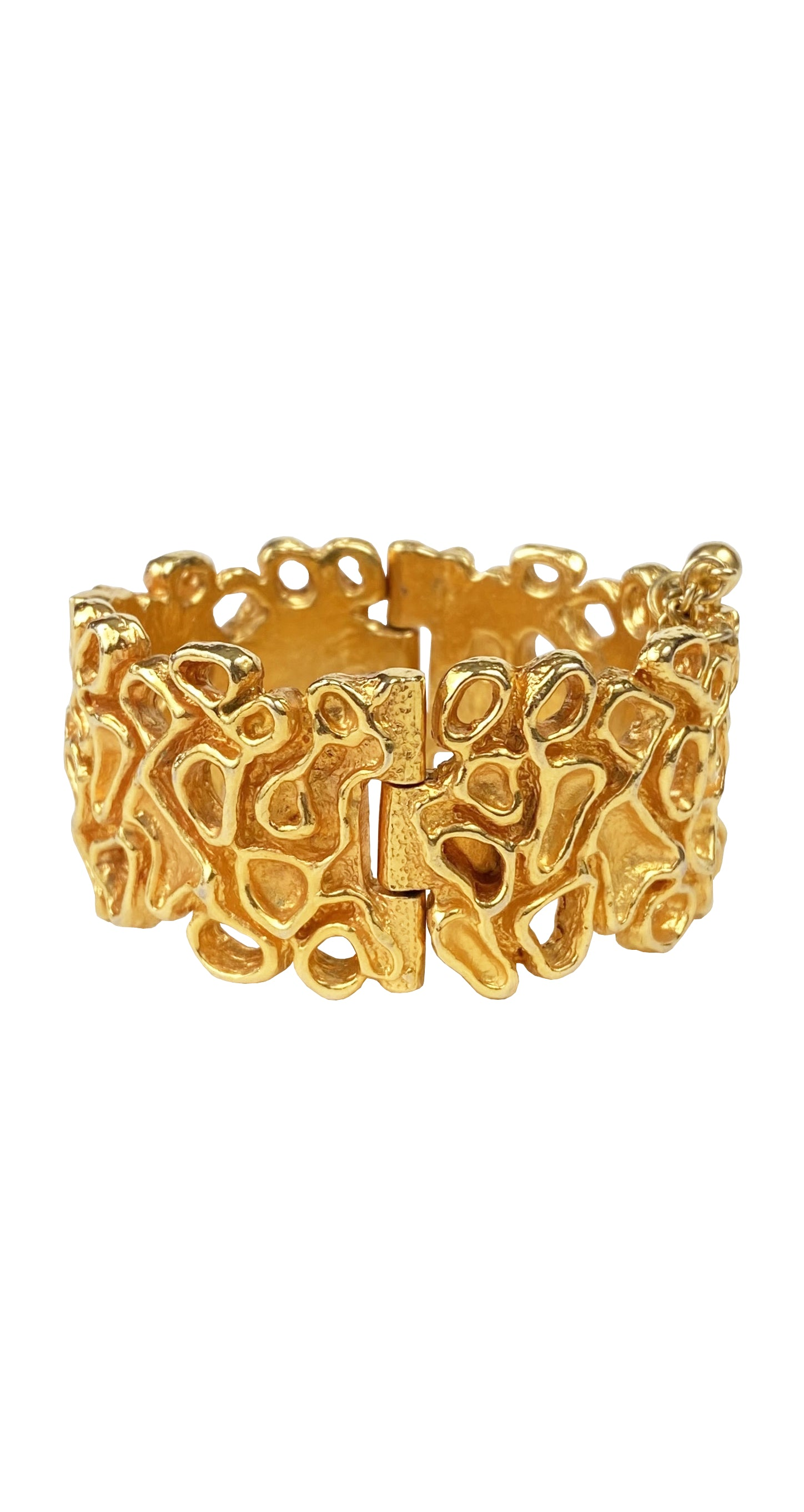 1970s Modernist Gold-Plated Hinged Bracelet