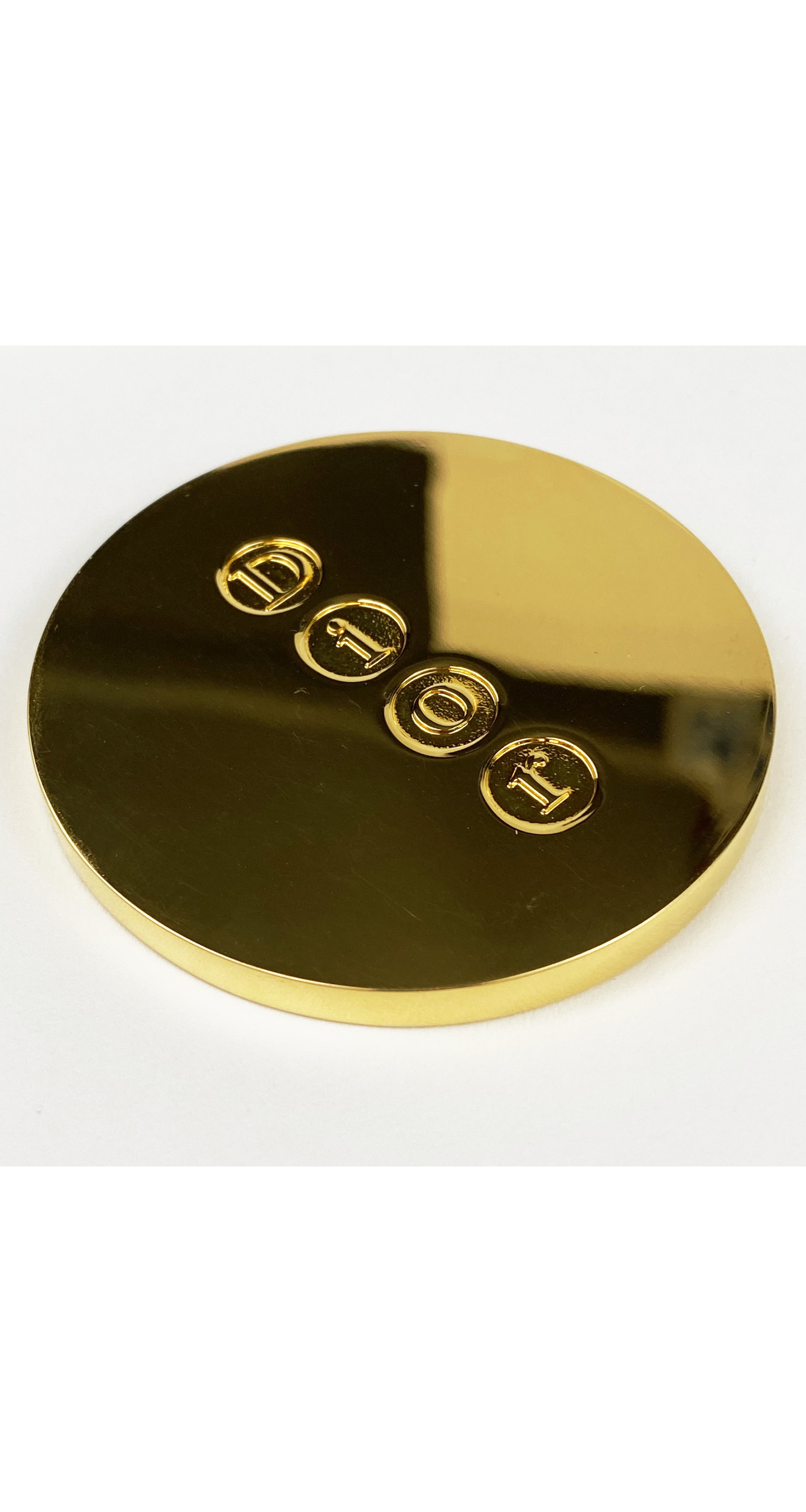 "1980s ""DIOR"" Signed Gold Metal Compact Mirror"