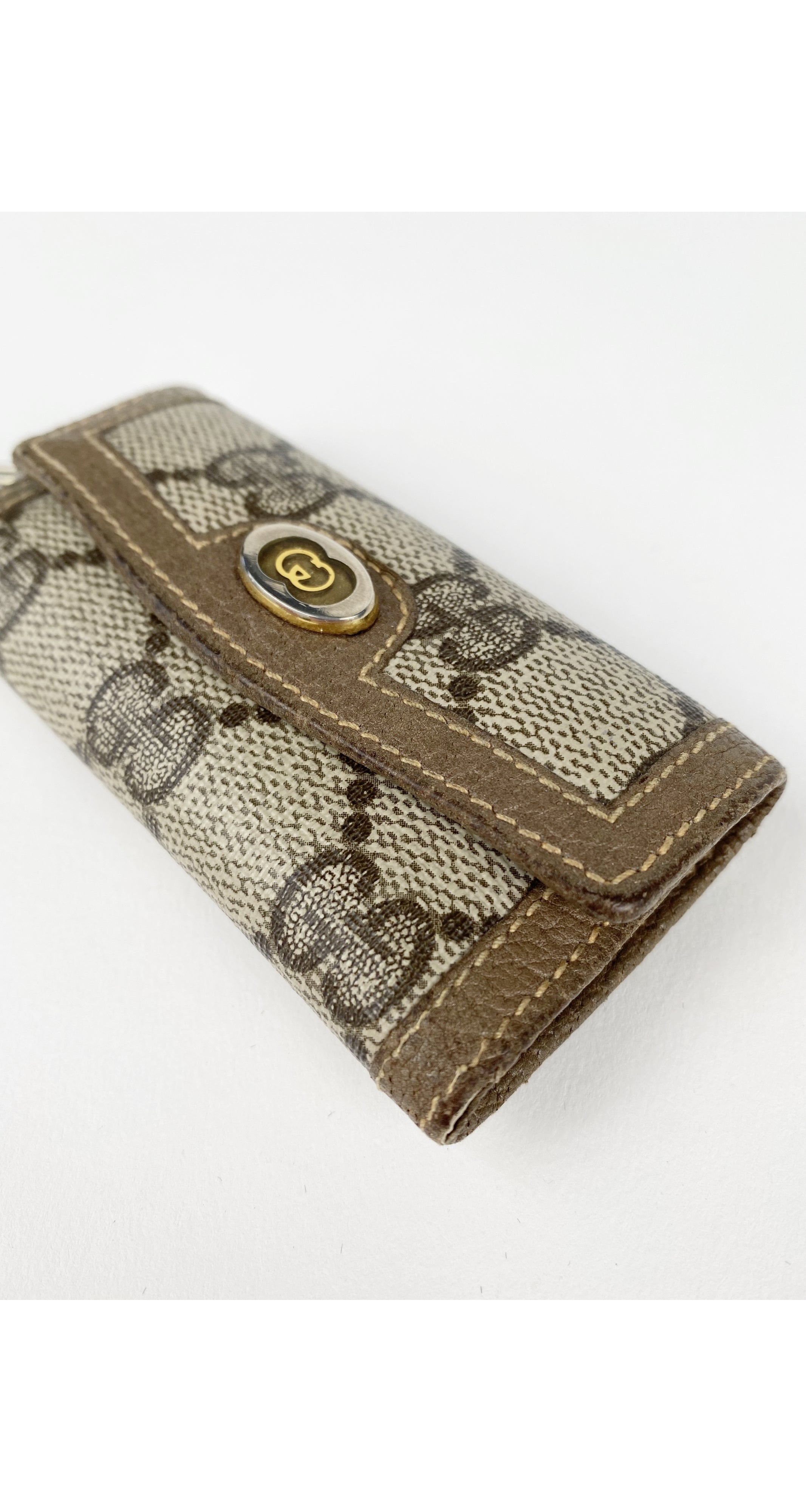 1980s GG Monogram Canvas & Leather Key Holder Case