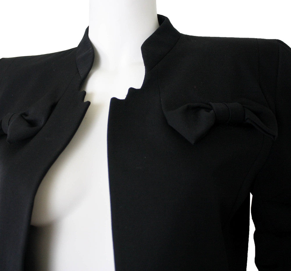 Couture 1980's Black Wool Bow Jacket