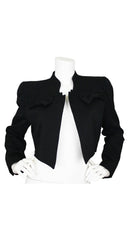 Couture 1980s Black Wool Bow Jacket