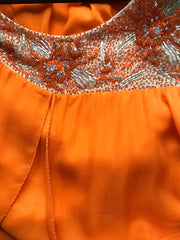 1960s Beaded Orange Silk Chiffon Gown
