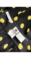 1991 S/S Yellow & Black Polka-Dot Billowing Sleeve Wrap Blouse