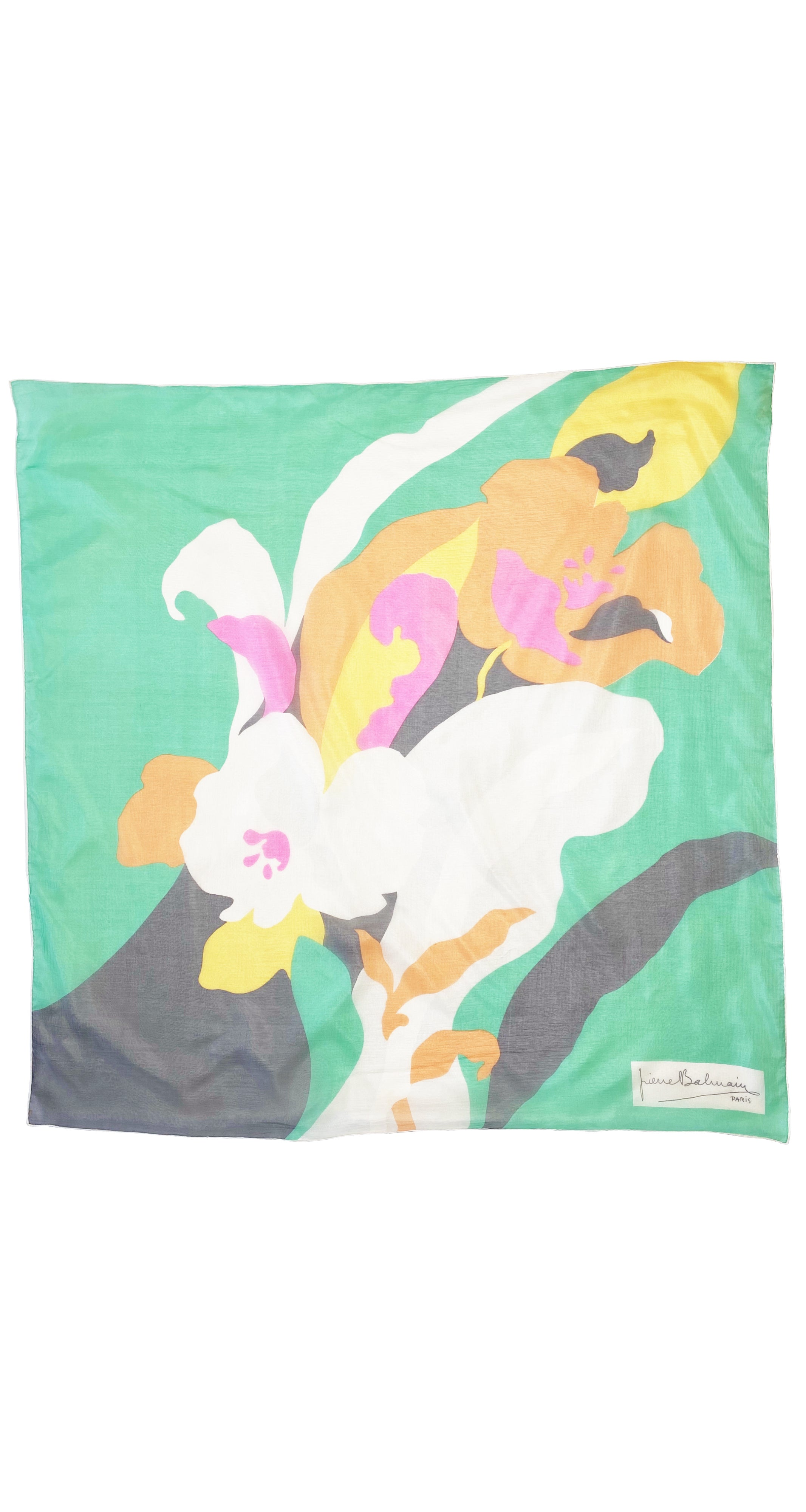 1960s Vibrant Abstract Floral Silk Chiffon Scarf