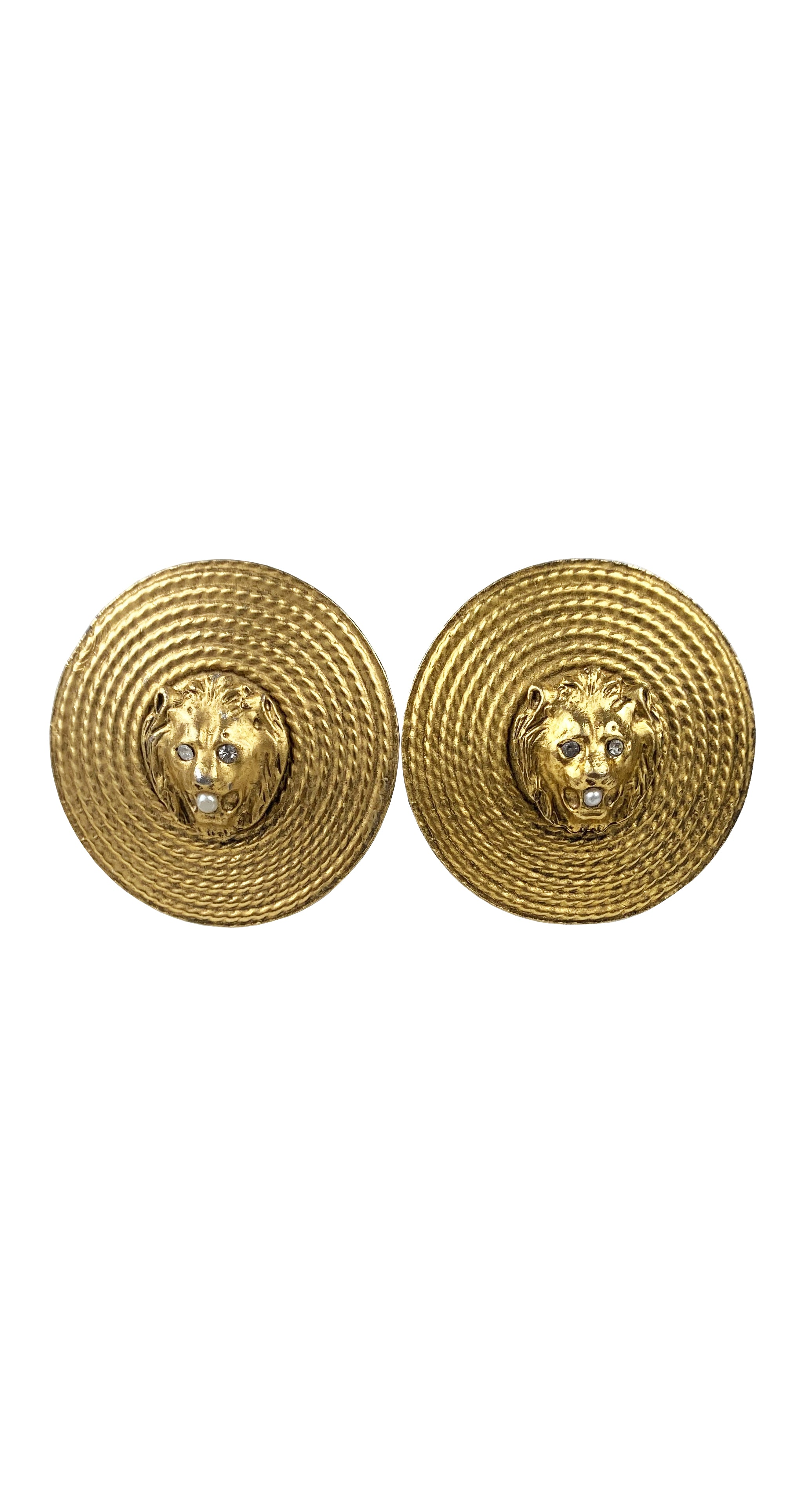 1980s Lion Head Medallion Gold-Tone Clip-On Earrings