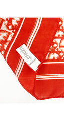 1980s Red & White Monogram Print Silk Scarf