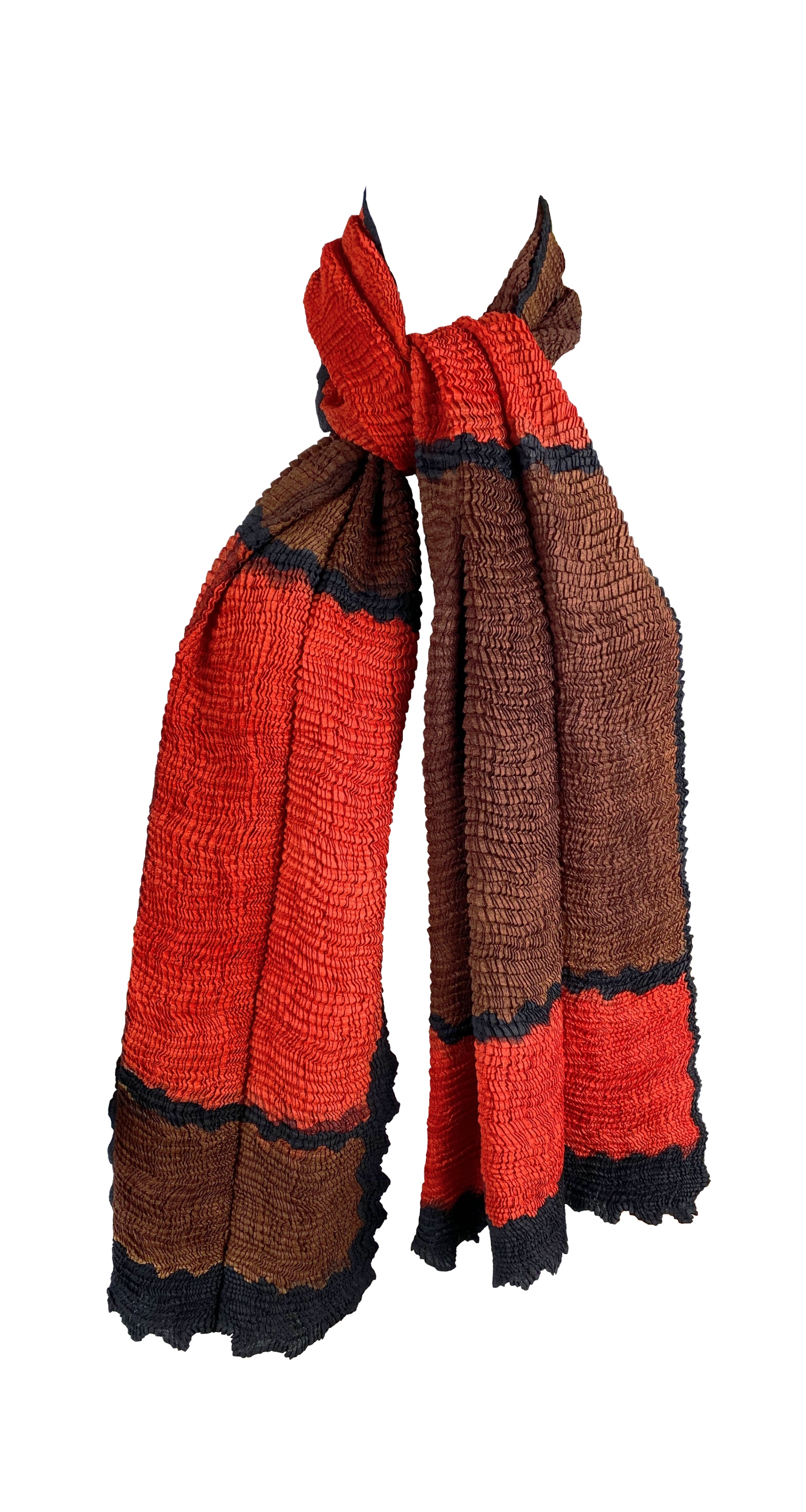 "1990s 60"" Orange, Brown, and Black Colorblock Pleated Scarf"
