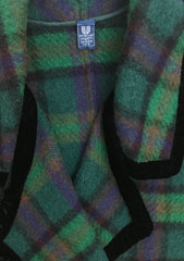 1980s Green Plaid Wool & Velvet Trim Blanket Coat