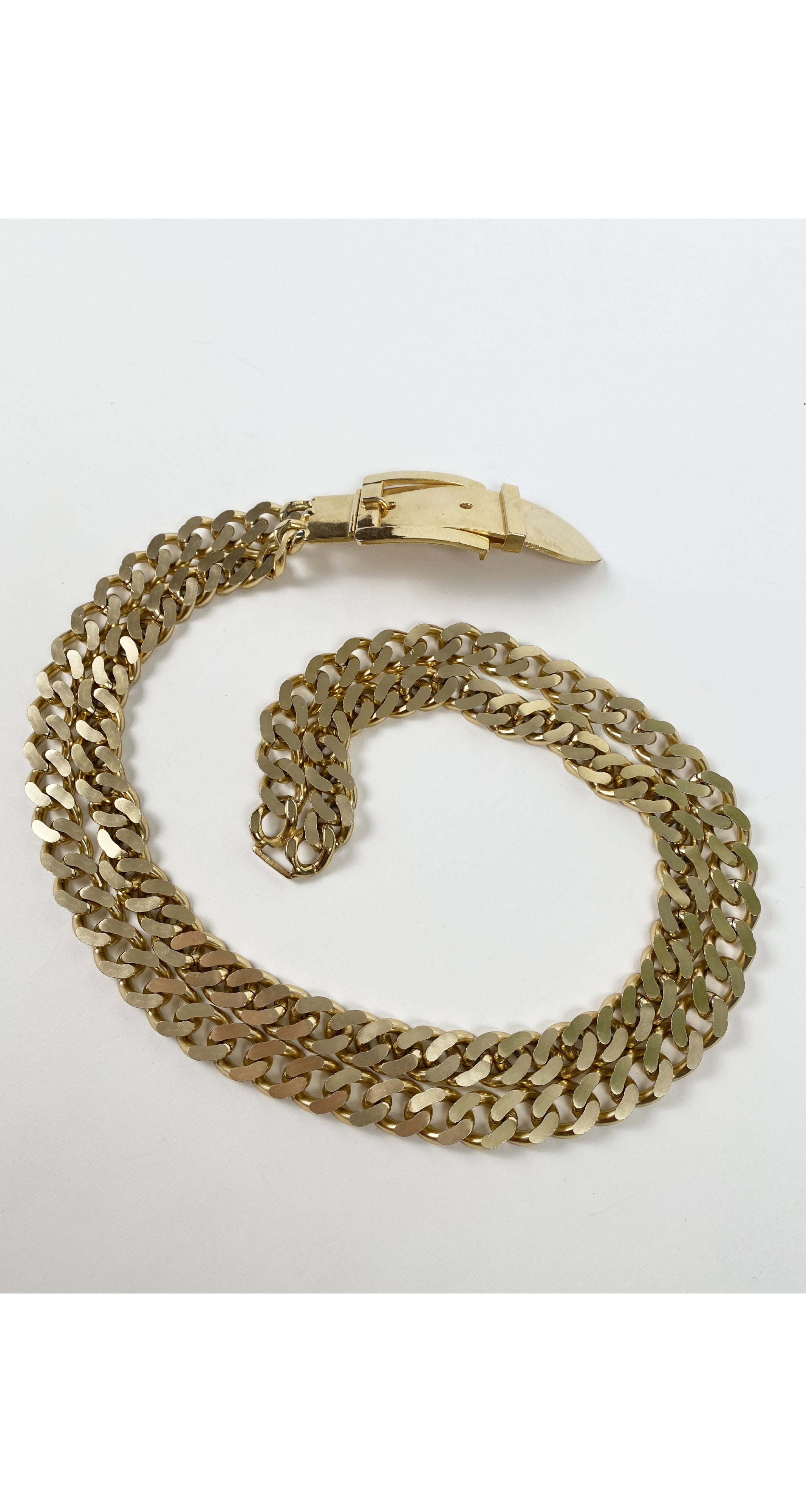 1970s Gold Trompe L'oeil Buckle Chain Belt
