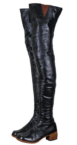 Black Leather Thigh High Wood Stacked Heel Boots