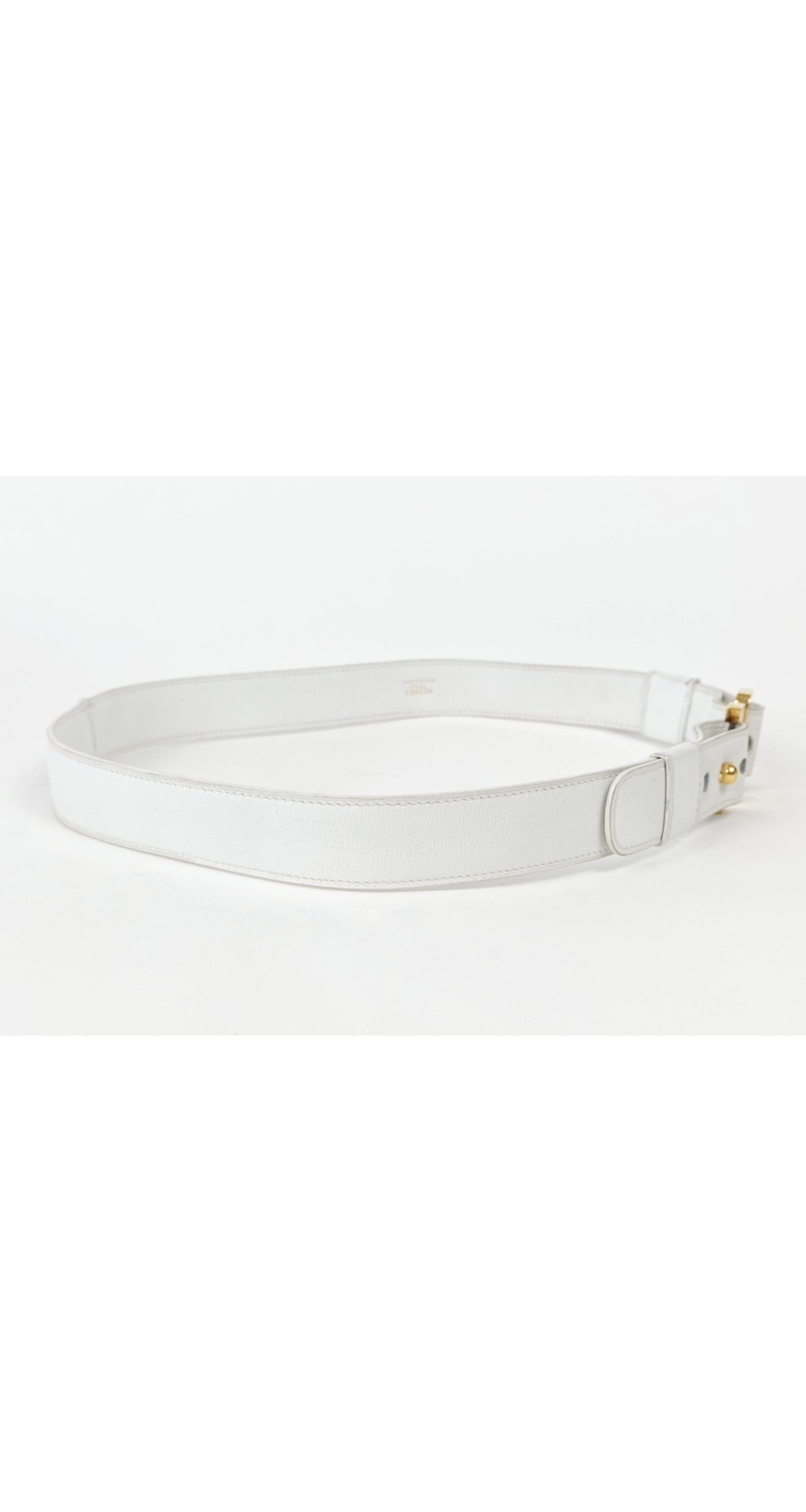 "1970s ""H"" Gold Buckle White Leather Belt"
